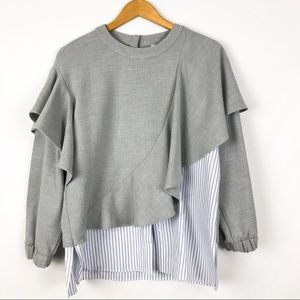 Zara Trafaluc Gray Ruffle Blouse Blue White Stripe